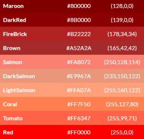 tabela cores tons de vermelho
